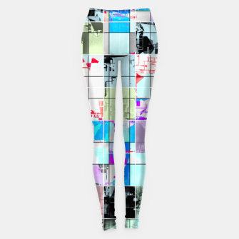 Miniatur geometric square pattern abstract in blue and pink Leggings, Live Heroes