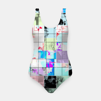 Miniature de image de geometric square pattern abstract in blue and pink Swimsuit, Live Heroes