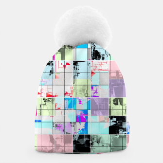 Miniaturka geometric square pattern abstract in blue and pink Beanie, Live Heroes