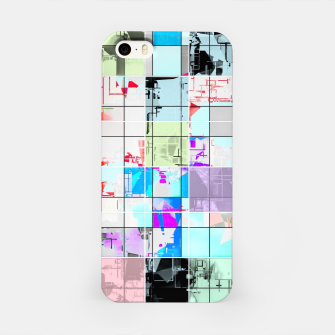 Miniatur geometric square pattern abstract in blue and pink iPhone Case, Live Heroes