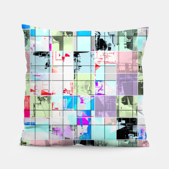 Miniaturka geometric square pattern abstract in blue and pink Pillow, Live Heroes