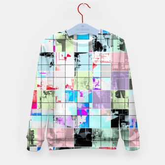 Miniatur geometric square pattern abstract in blue and pink Kid's sweater, Live Heroes