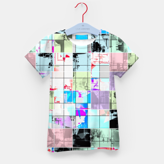 Miniatur geometric square pattern abstract in blue and pink Kid's t-shirt, Live Heroes