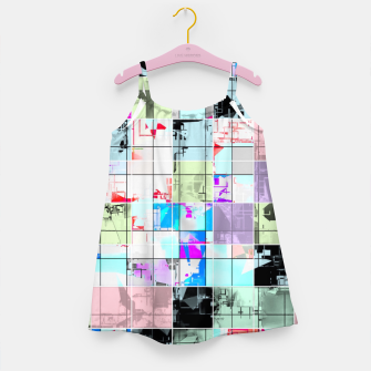 Miniaturka geometric square pattern abstract in blue and pink Girl's dress, Live Heroes