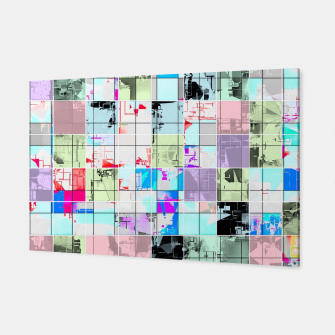 Miniatur geometric square pattern abstract in blue and pink Canvas, Live Heroes