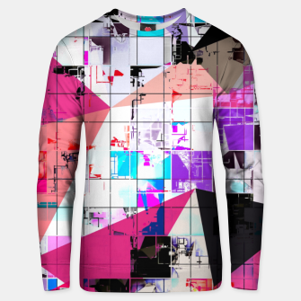 Miniatur geometric triangle and square pattern abstract in pink purple blue Unisex sweater, Live Heroes