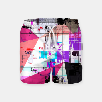 Miniatur geometric triangle and square pattern abstract in pink purple blue Swim Shorts, Live Heroes
