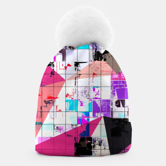 Miniaturka geometric triangle and square pattern abstract in pink purple blue Beanie, Live Heroes