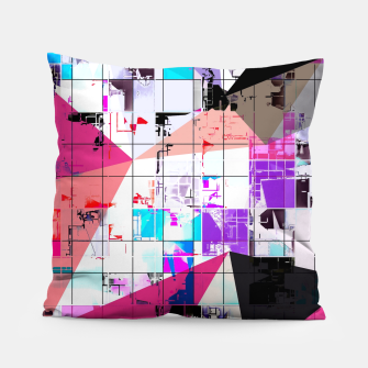 Miniaturka geometric triangle and square pattern abstract in pink purple blue Pillow, Live Heroes