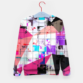 Miniatur geometric triangle and square pattern abstract in pink purple blue Kid's sweater, Live Heroes