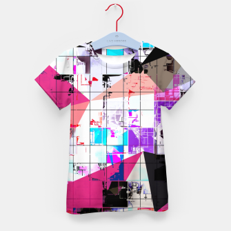 Miniatur geometric triangle and square pattern abstract in pink purple blue Kid's t-shirt, Live Heroes