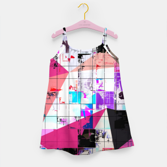 Miniaturka geometric triangle and square pattern abstract in pink purple blue Girl's dress, Live Heroes