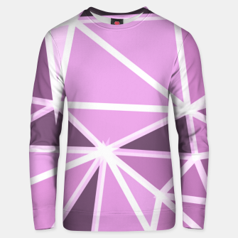geometric triangle pattern abstract background in pink and white Unisex sweater thumbnail image