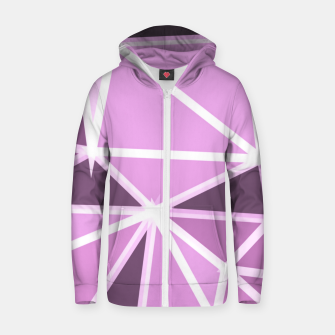 geometric triangle pattern abstract background in pink and white Zip up hoodie thumbnail image