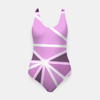 geometric triangle pattern abstract background in pink and white Swimsuit thumbnail image