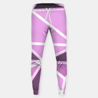 geometric triangle pattern abstract background in pink and white Sweatpants thumbnail image