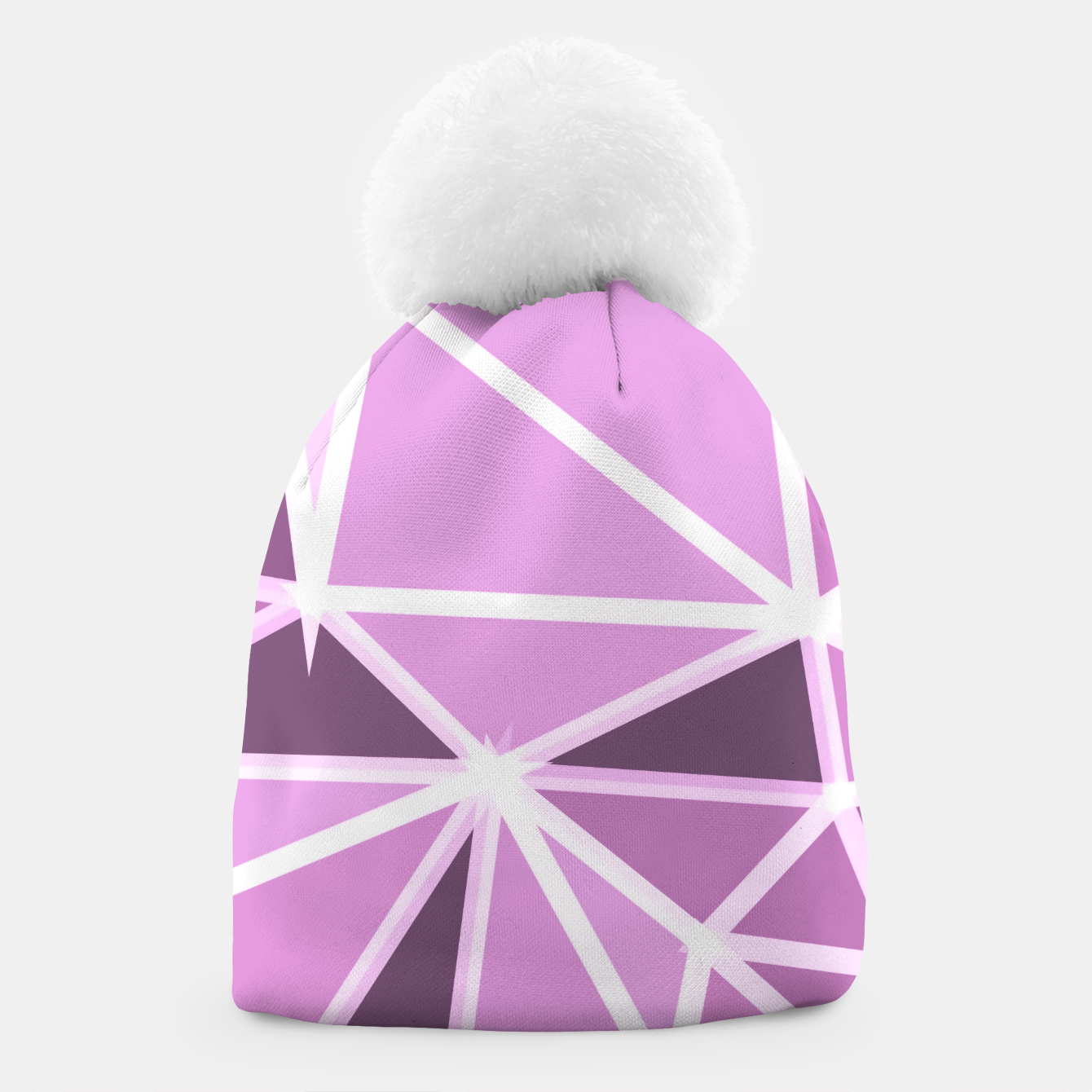Image of geometric triangle pattern abstract background in pink and white Beanie - Live Heroes