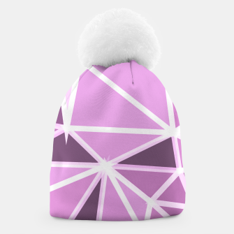 geometric triangle pattern abstract background in pink and white Beanie thumbnail image