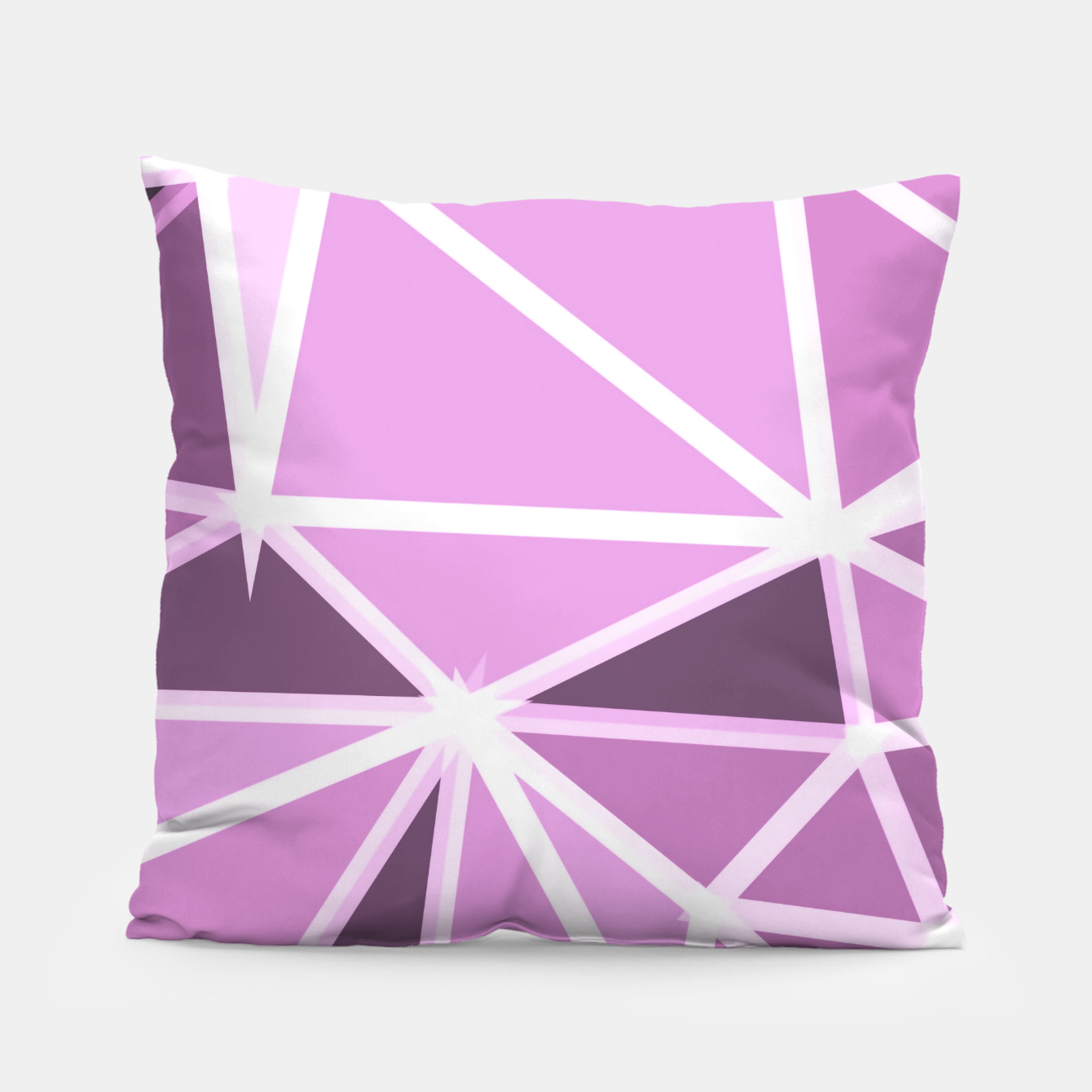 Image of geometric triangle pattern abstract background in pink and white Pillow - Live Heroes