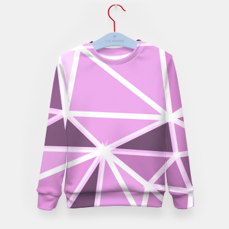 geometric triangle pattern abstract background in pink and white Kid's sweater thumbnail image
