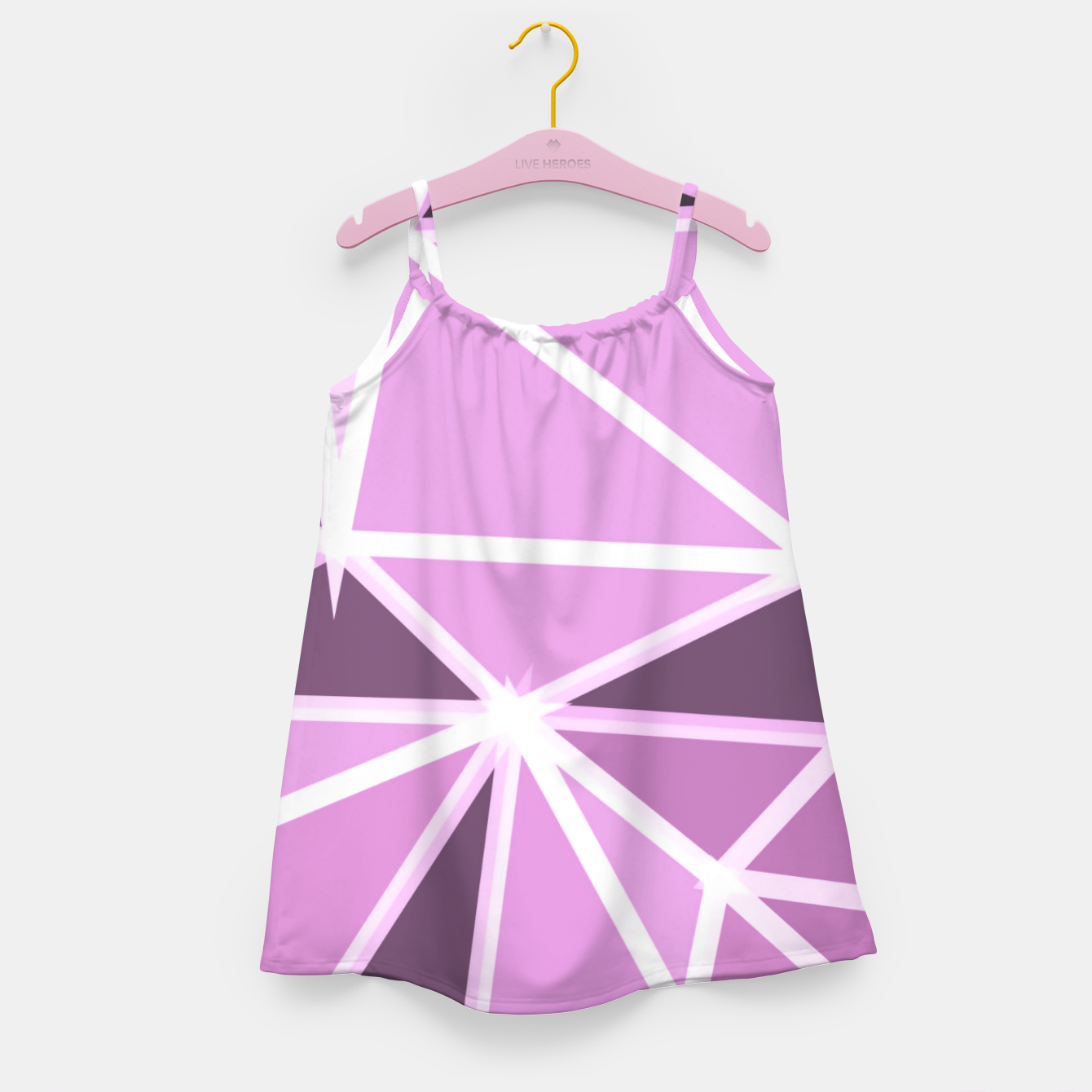 Image of geometric triangle pattern abstract background in pink and white Girl's dress - Live Heroes