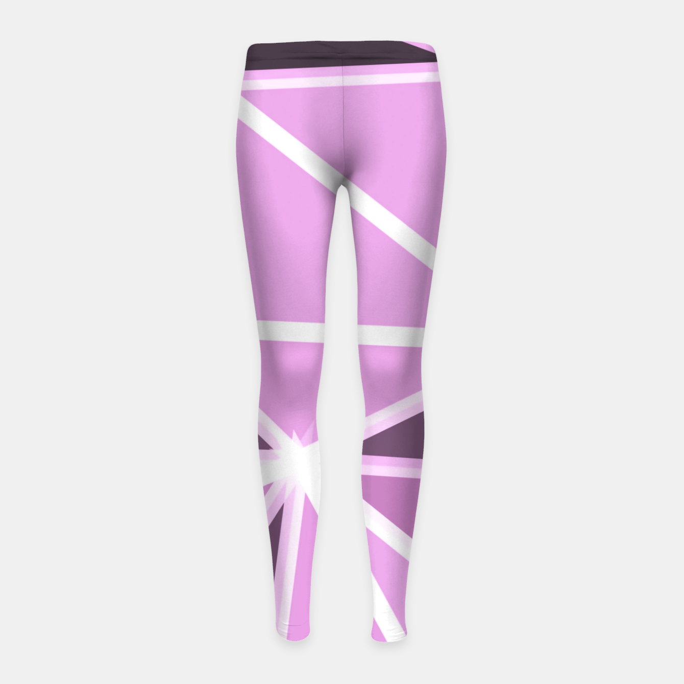 Image of geometric triangle pattern abstract background in pink and white Girl's leggings - Live Heroes