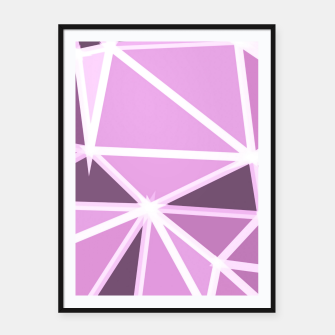 geometric triangle pattern abstract background in pink and white Framed poster thumbnail image