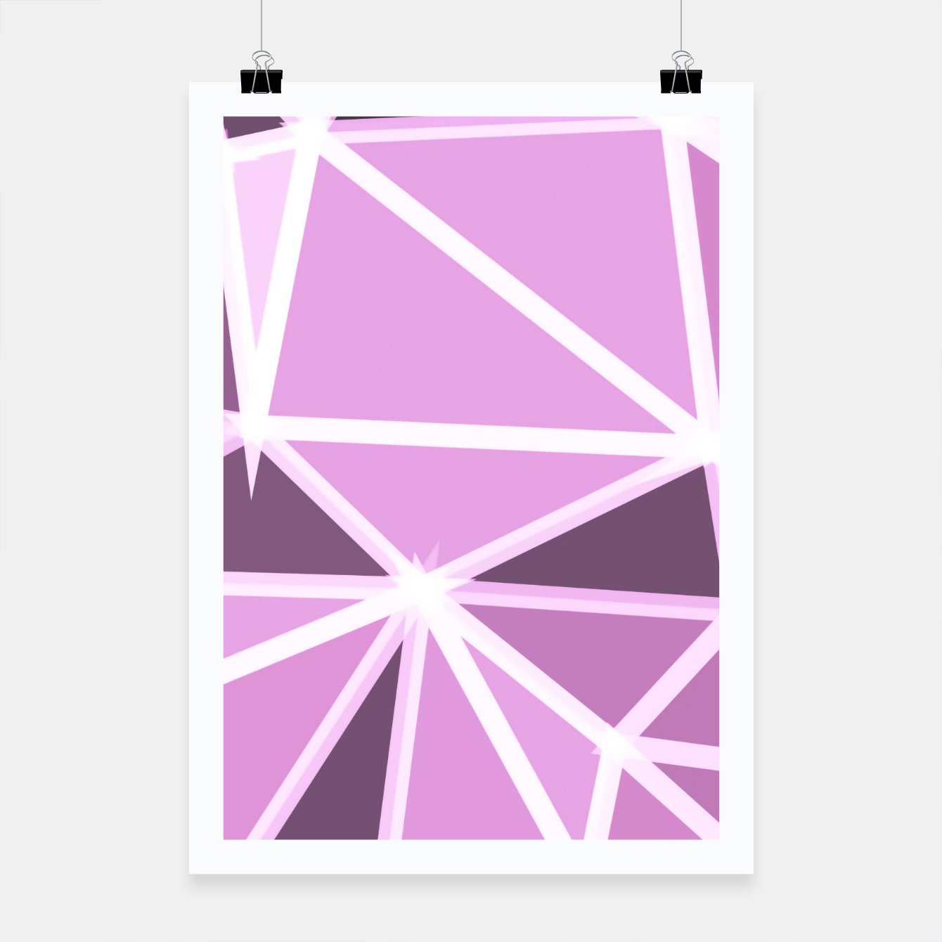 Image of geometric triangle pattern abstract background in pink and white Poster - Live Heroes