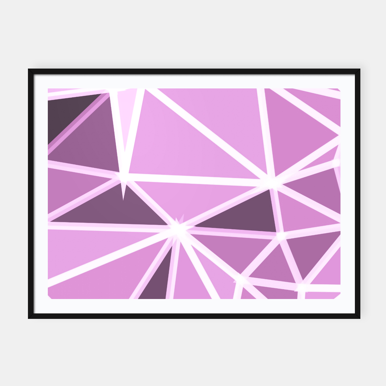 Image of geometric triangle pattern abstract background in pink and white Framed poster - Live Heroes