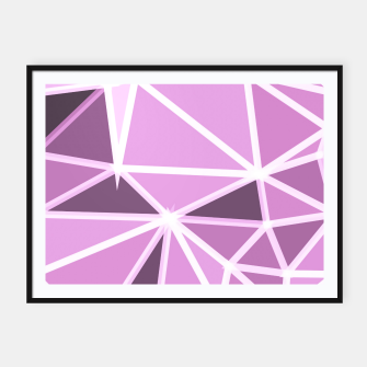 Thumbnail image of geometric triangle pattern abstract background in pink and white Framed poster, Live Heroes