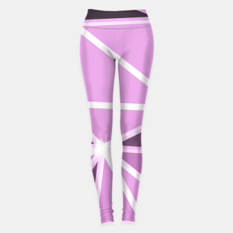 geometric triangle pattern abstract background in pink and white Leggings thumbnail image