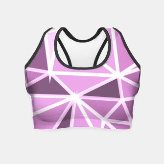 geometric triangle pattern abstract background in pink and white Crop Top thumbnail image