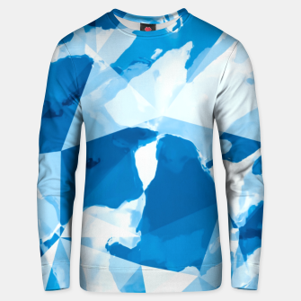 Miniatur geometric triangle pattern abstract with blue painting background Unisex sweater, Live Heroes