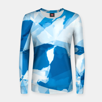 Imagen en miniatura de geometric triangle pattern abstract with blue painting background Women sweater, Live Heroes