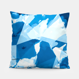Imagen en miniatura de geometric triangle pattern abstract with blue painting background Pillow, Live Heroes