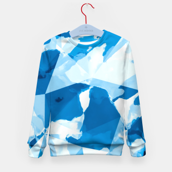 Miniatur geometric triangle pattern abstract with blue painting background Kid's sweater, Live Heroes