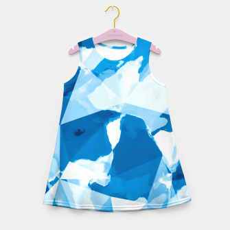 Imagen en miniatura de geometric triangle pattern abstract with blue painting background Girl's summer dress, Live Heroes