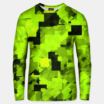 Miniatur geometric square pixel pattern abstract background in green and black Unisex sweater, Live Heroes