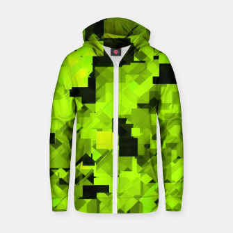 Miniaturka geometric square pixel pattern abstract background in green and black Zip up hoodie, Live Heroes