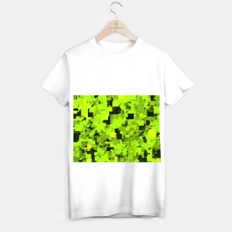 Miniatur geometric square pixel pattern abstract background in green and black T-shirt regular, Live Heroes