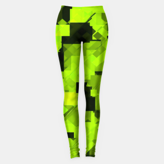 Miniatur geometric square pixel pattern abstract background in green and black Leggings, Live Heroes