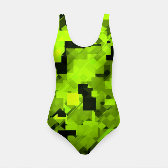 Miniature de image de geometric square pixel pattern abstract background in green and black Swimsuit, Live Heroes