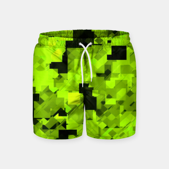 Miniatur geometric square pixel pattern abstract background in green and black Swim Shorts, Live Heroes
