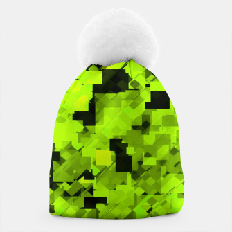 Miniaturka geometric square pixel pattern abstract background in green and black Beanie, Live Heroes