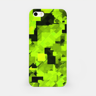 Miniatur geometric square pixel pattern abstract background in green and black iPhone Case, Live Heroes