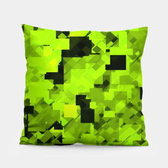 Miniaturka geometric square pixel pattern abstract background in green and black Pillow, Live Heroes