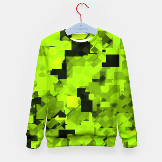 Miniatur geometric square pixel pattern abstract background in green and black Kid's sweater, Live Heroes