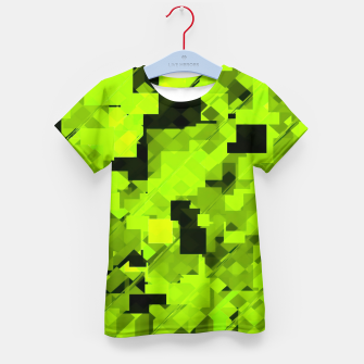 Miniatur geometric square pixel pattern abstract background in green and black Kid's t-shirt, Live Heroes
