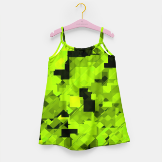 Miniaturka geometric square pixel pattern abstract background in green and black Girl's dress, Live Heroes