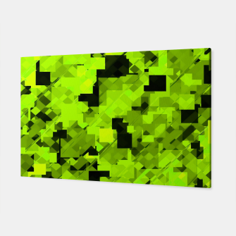 Miniatur geometric square pixel pattern abstract background in green and black Canvas, Live Heroes